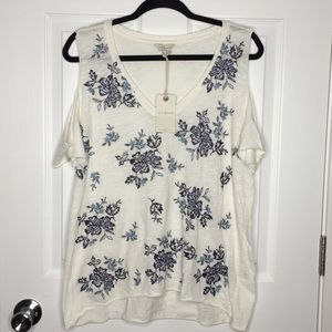 Lucky Brand - Floral Embroidery Cold Shoulder Tee